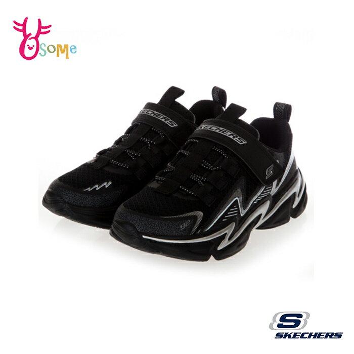 Skechers童鞋 男童運動鞋 WAVETRONIC 跑步鞋 慢跑鞋 魔鬼氈 編織 訓練 U8259#黑白◆OSOME奧森鞋業