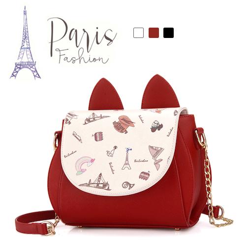 《波卡小姐》浪漫!法式印花小貓皮革女包 約會肩背包 側背包 紅黑白 立體貓耳朵五金鏈時尚包包 (微暇款, 售出無退換)