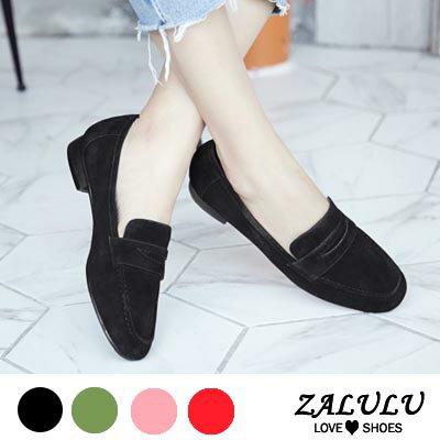ZALULU愛鞋館 GB282預購款 韓版羊反絨簡約素色樂福鞋-軍綠/紅/藕/黑-36-40