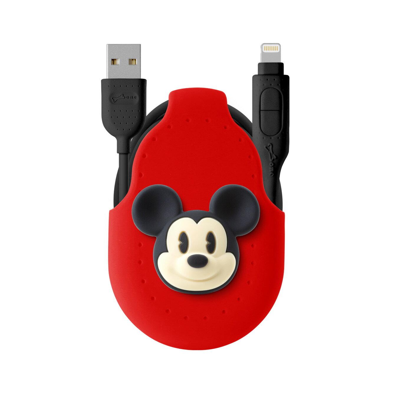 Bone 二合一雙頭傳輸線 - 米奇 迪士尼 Disney 支援快充 充電線 兩用線 Android APPLE官方認證 iPhone