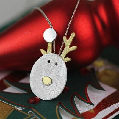 925純銀項鍊吊墜~可愛聖誕節馴鹿 情人節生日 女飾品2色73gm45~ ~~米蘭 ~