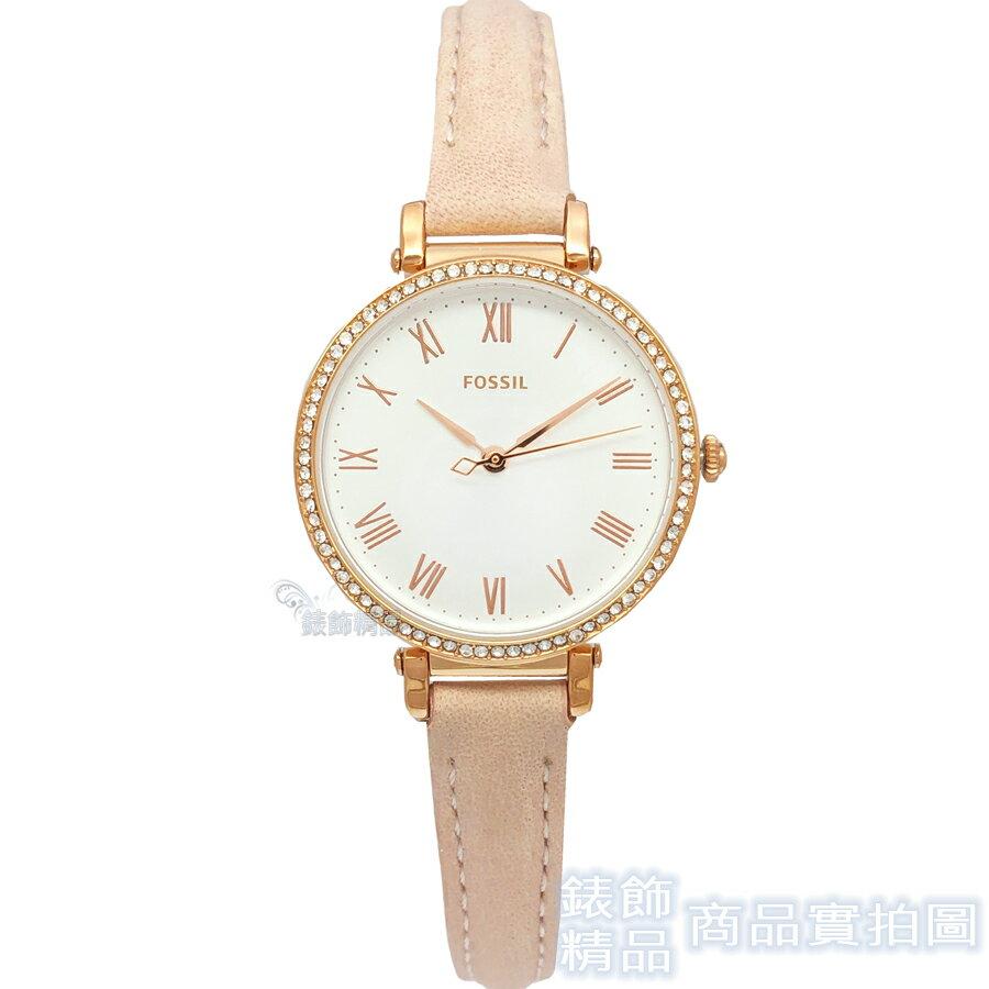 FOSSIL 手錶 ES4445 閃耀晶鑽玫瑰金 羅馬時標 粉膚色細皮帶女錶【錶飾精品】