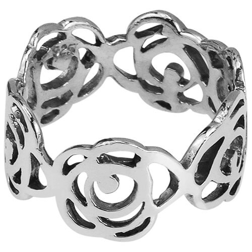 Open Abstract Rose Flower Band Sterling Silver Ring 2