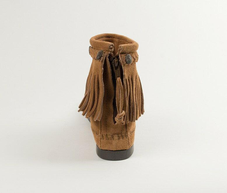 【Minnetonka 莫卡辛】土駝色 - 麂皮後拉鍊流蘇莫卡辛短靴 4