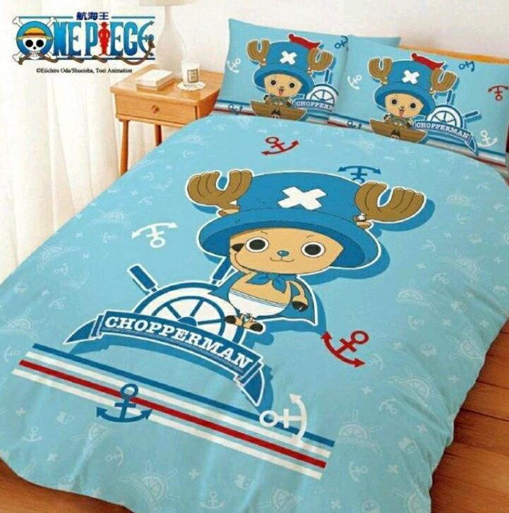 ~嫁妝寢具~水手喬巴~藍色~~雙人床包組~床包 枕套^~2~5^~6.2