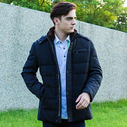 秋冬新款超保暖黑色舒適含帽素面風格羽絨紳士百搭外套上衣【17293-88】【M~XL】
