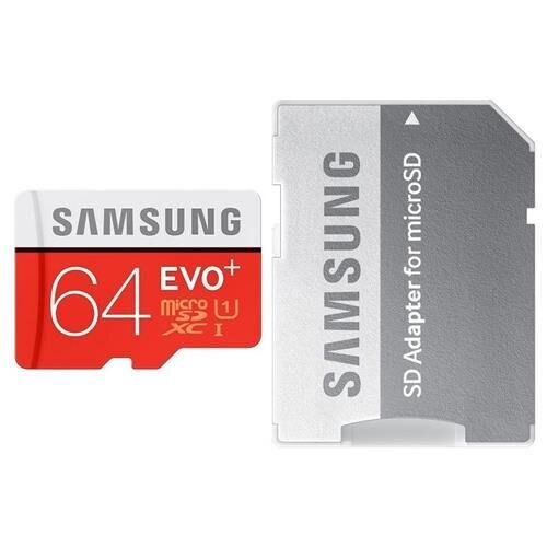 Samsung EVO+ 64GB microSDXC Class 10 64G EVO Plus microSD micro SD SDXC 80MB/s UHS-I U1 C10 MB-MC64DA with Original SD Adapter and USB 2.0 Card Reader 0