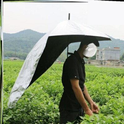 頭戴式雨傘 防紫外線頭戴式超輕背傘帶雙肩採茶傘防曬傘傘帽雨傘女生晴雨傘『CM37592』