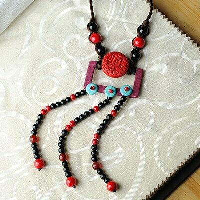 ~民族風漆雕毛衣鍊~ 編織復古氣質母親節情人節生日 女飾品73hf57~ ~~米蘭 ~