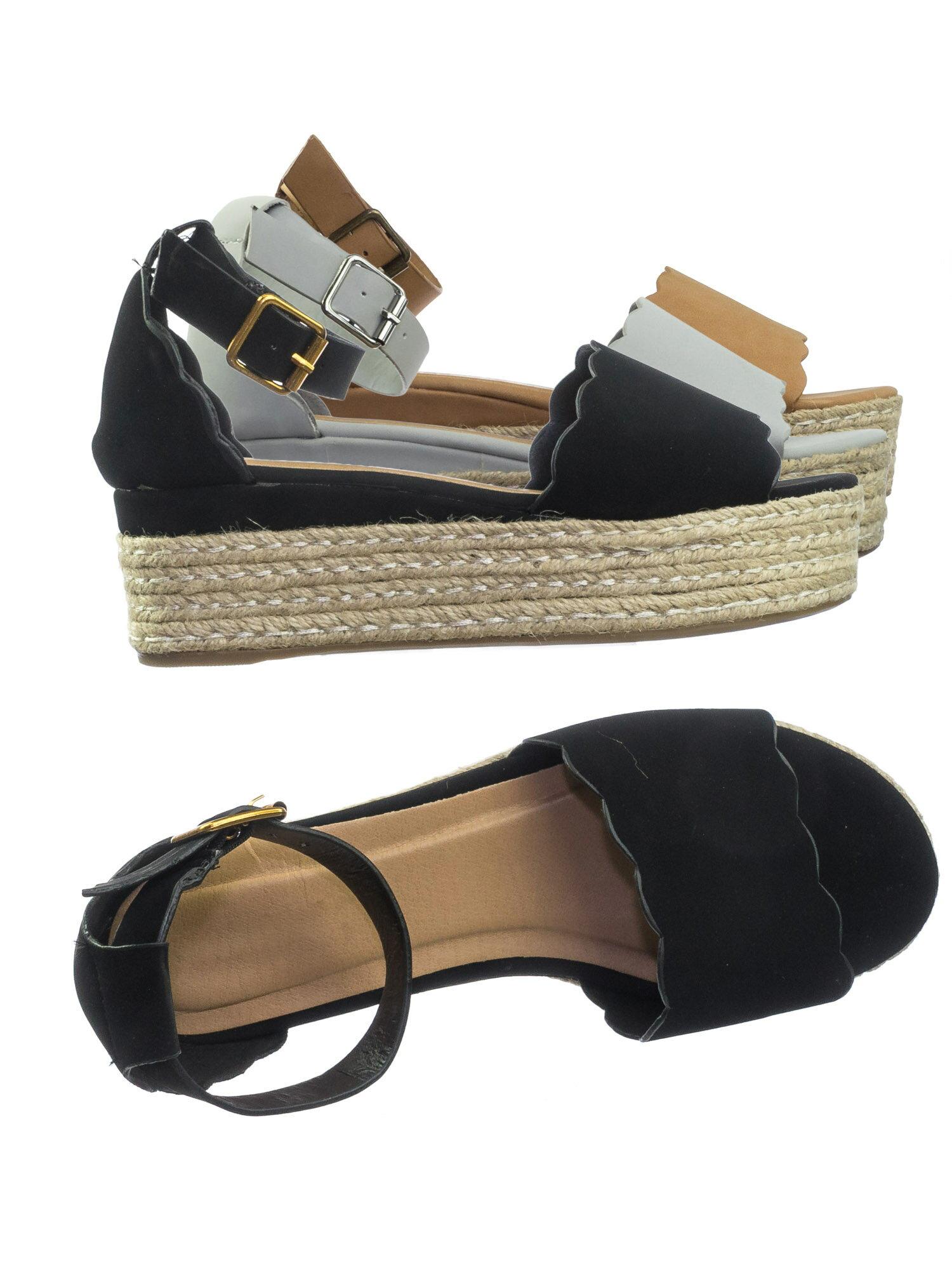 3b1b8f10337 Infinity06 Black Nubuck by Bamboo Scallop Espadrille Jute Rope Wrap Platform  Flatform Flat Sandal 0