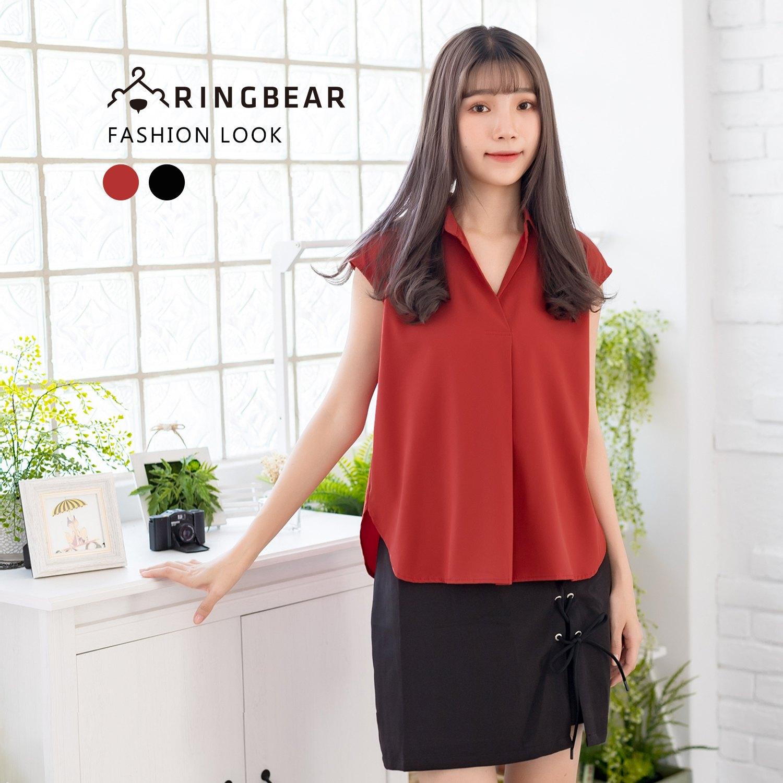 氣質襯衫--氣質優雅OL無袖寬鬆襯衫領修飾弧線下擺上衣(黑.紅M-3L)-H182眼圈熊中大尺碼 0