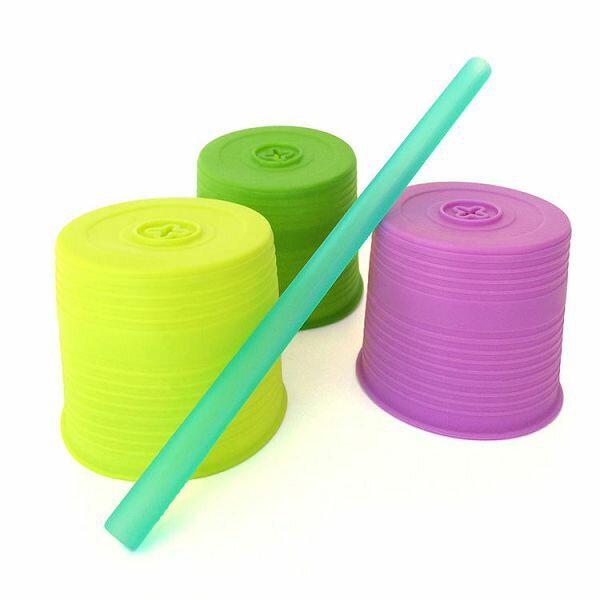 美國Silikids 果凍餐具- 超彈力隨行吸管杯套三入組 (升級版) 嫩綠紫