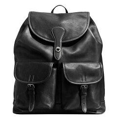 COACH 71743男士新品後背包中性背包皮質時尚男包 黑色