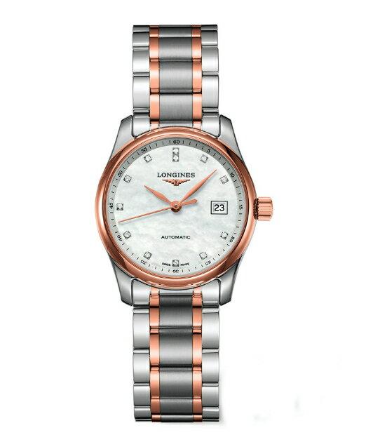 LONGINES L22575897巨擘經典雙色真鑽機械腕錶/珍珠母貝面29mm