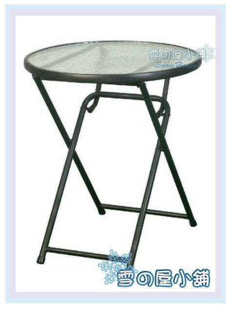 ╭☆雪之屋居家生活館☆╯R987-01 鐵製折合玻璃圓桌(烤漆)(S47132P)/餐桌/飯桌/折疊桌/休閒桌