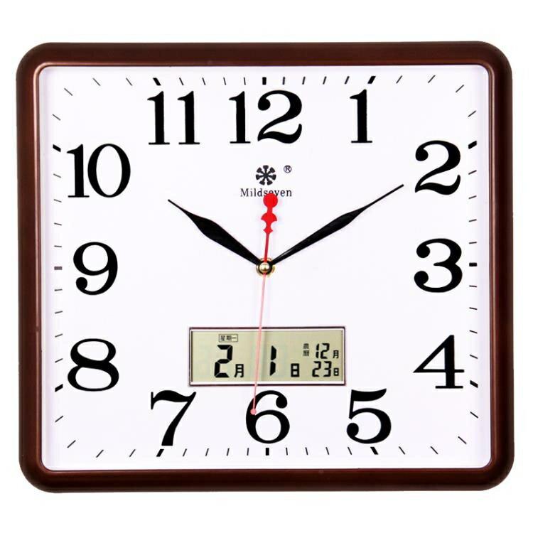 七王星方形電子掛鐘客廳靜音鐘表家庭創意時尚藝術萬年日歷石英鐘 秋冬新品特惠