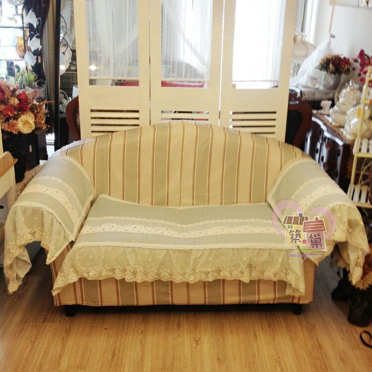 棉質蕾絲藍色點點拼布沙發墊/萬用墊-單人70x70/兩人70x150/三人70x180/加長70x210