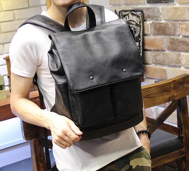 FINDSENSE Z1 韓國 時尚 潮 男 皮質 荔枝紋 簡約 學生包 書包 電腦包 旅行包 後背包 雙肩包