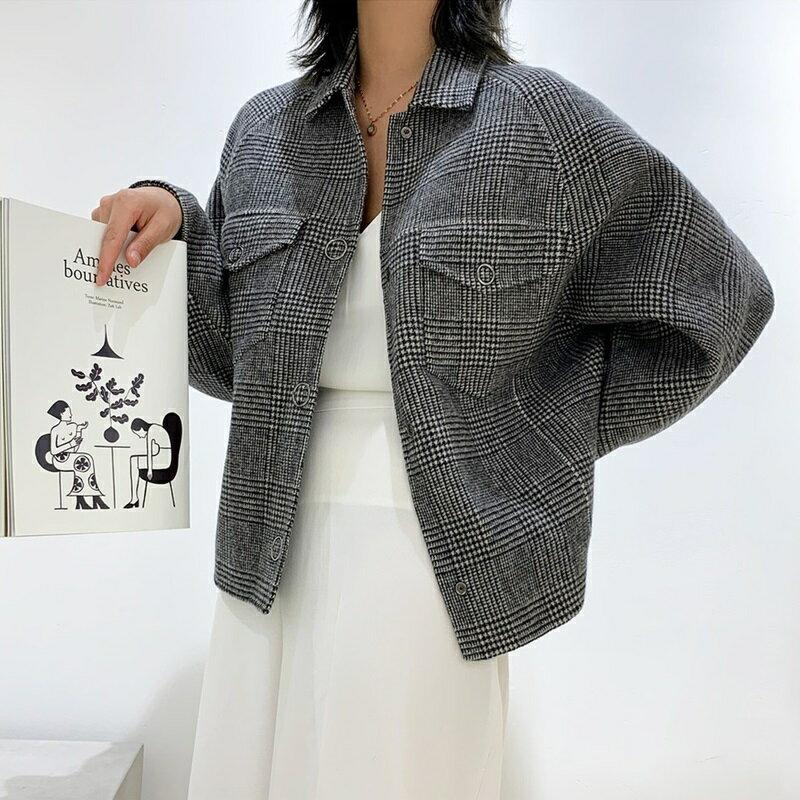毛呢大衣羊毛外套-短版格紋時尚單排扣女外套73wb14【獨家進口】【米蘭精品】 1