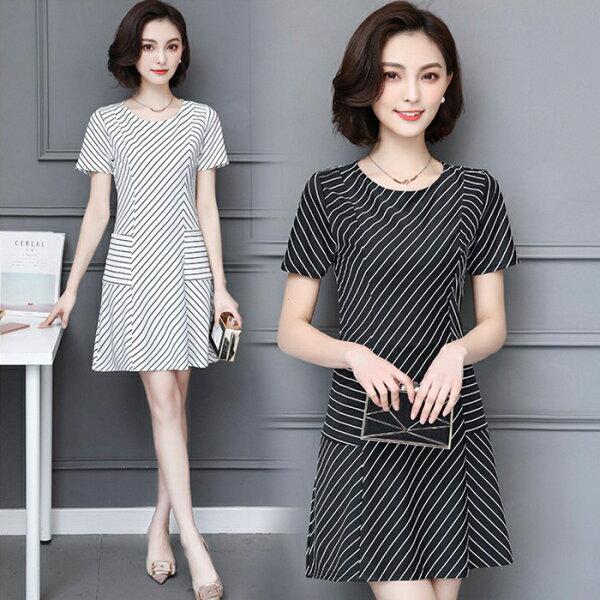糖衣子輕鬆購【GH3034】韓版時尚百搭修身圓領條紋口袋連身裙