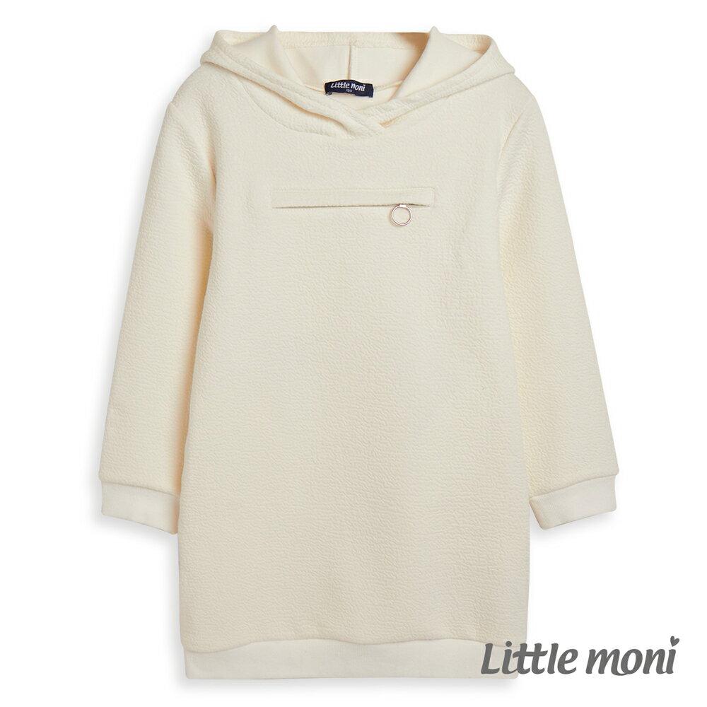 Little moni連帽拉鍊造型長版T-象牙白(好窩生活節) 0