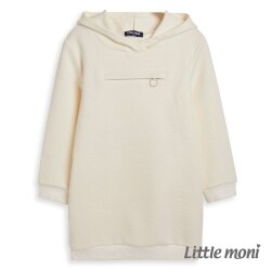 Little moni連帽拉鍊造型長版T-象牙白