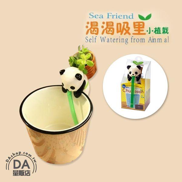《DA量販店》迷你 盆栽 動物 嘴巴 吸水 喝水 療愈 植物 熊貓(V50-1283)