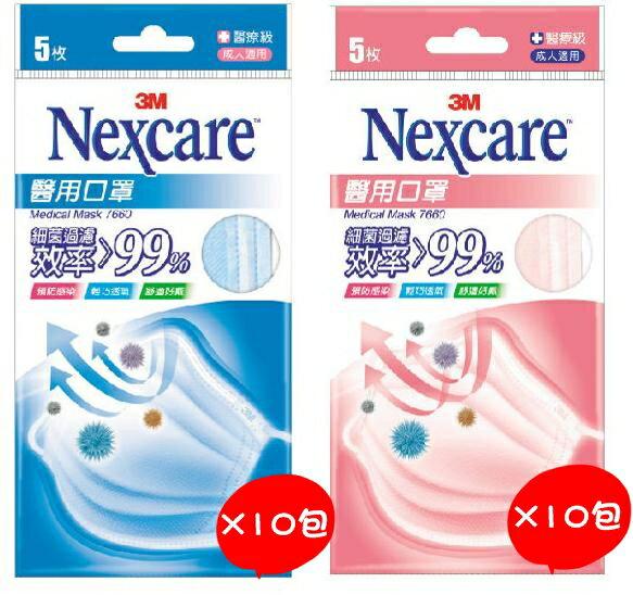 3M Nexcare 醫用口罩成人適用 5枚/包x10包 盒裝 (藍色.粉色2種可選)【全月刷卡累積滿$3000賺5%回饋】