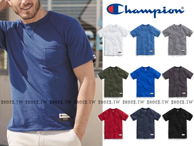 ★現貨+預購★Shoestw【AO250】Champion 服飾 AO250 口袋短T 短袖T恤 胸前有口袋 美規 高磅數 9種顏色 男女都可穿 1