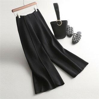 [全店免運]簡約版型加厚針織闊腿褲直筒長褲 寬褲 / 樂天時尚館
