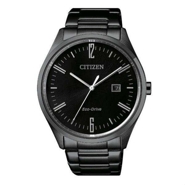 CITIZEN星辰錶BM7355-82E現代簡約黑光動能腕錶黑面42mm