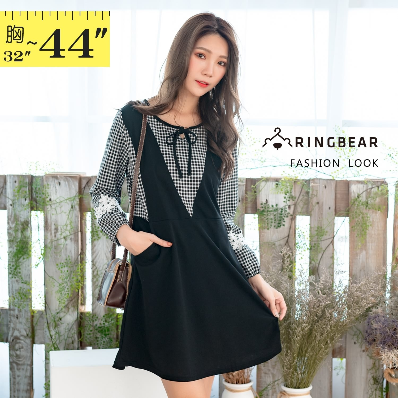 氣質洋裝--甜美格紋拼接蝴蝶織帶蕾絲口袋A字假兩件長袖連衣裙(黑M-2L)-A377眼圈熊中大尺碼 1