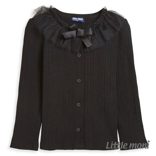 Littlemoni甜美網紗領邊外套-黑色