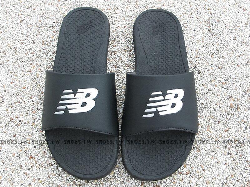 [最後尺寸:23cm]《下殺6折》Shoestw【M3068BK】NEW BALANCE 拖鞋 NB大LOGO 黑銀 運動拖鞋 男女尺寸都有 1