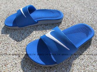 Shoestw【819352-400】NIKE KAWA SLIDE 藍白 大勾 運動拖鞋 軟Q女生尺寸