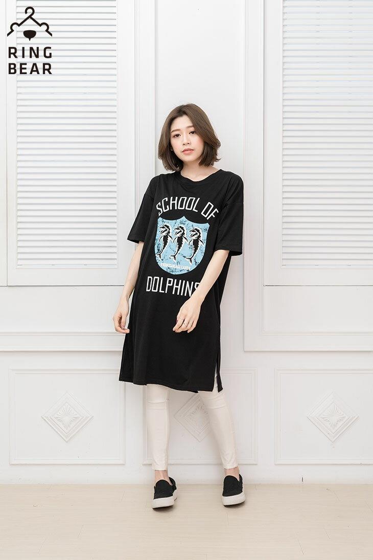 中大尺碼--率性風格可愛海豚學校印圖五分袖寬鬆版型休閒長洋裝(黑.白XL-3L)-D278眼圈熊中大尺碼 2