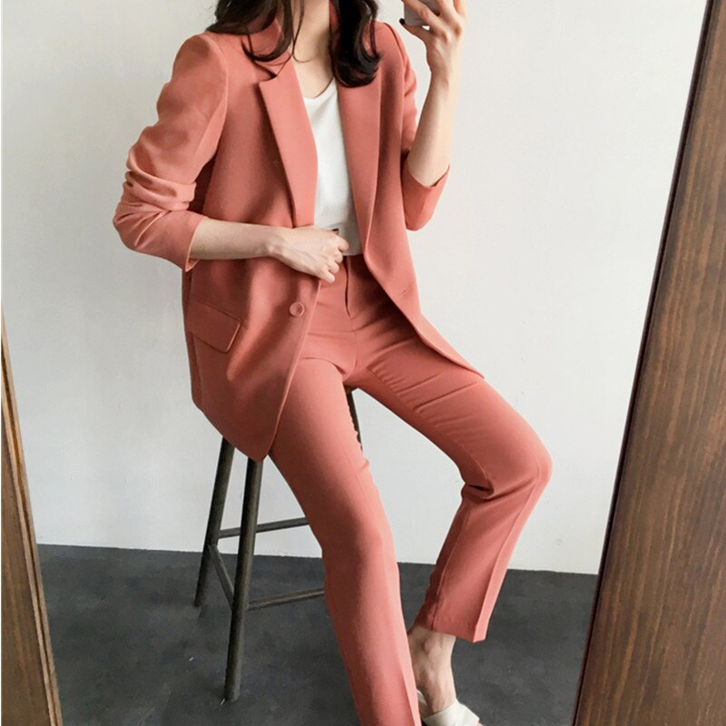 西裝套裝西裝外套+長褲(兩件套)-休閒韓版純色簡約女西服73xs8【獨家進口】【米蘭精品】