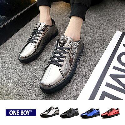~ One Boy ~~R87029~ 潮流鏡面裝飾繫帶休閒鞋