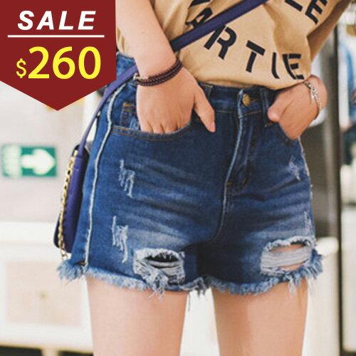 短褲 破損抓破側單線牛仔短褲 小豬兒 MiNi Jule ~KCA71054247~