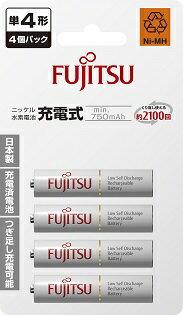 日本製 Fujitsu 富士通 HR-4UTC 低自放4號AAA回充2100次充電電池 4入贈電池盒