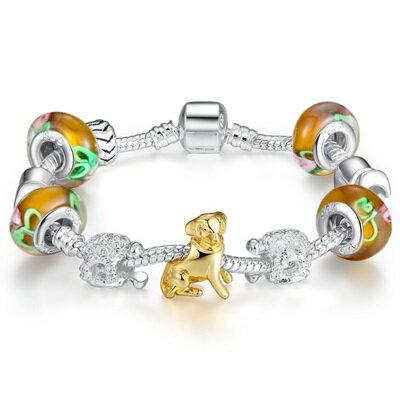 ~手鍊 潘朵拉元素串珠 925純銀手環~琉璃飾品可愛小狗 母親節生日情人節 女 72l82