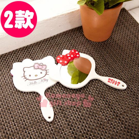 〔小禮堂韓國館〕Hello Kitty 造型手拿鏡《2款選1.小.白.大臉型》