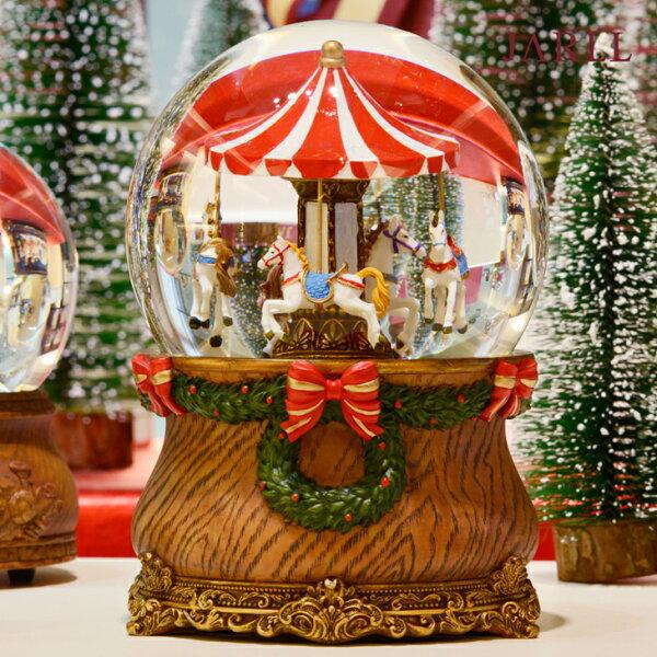 讚爾藝術:讚爾藝術JARLL聖誕遊樂馬聖誕禮物交換禮物聖誕水晶球音樂盒