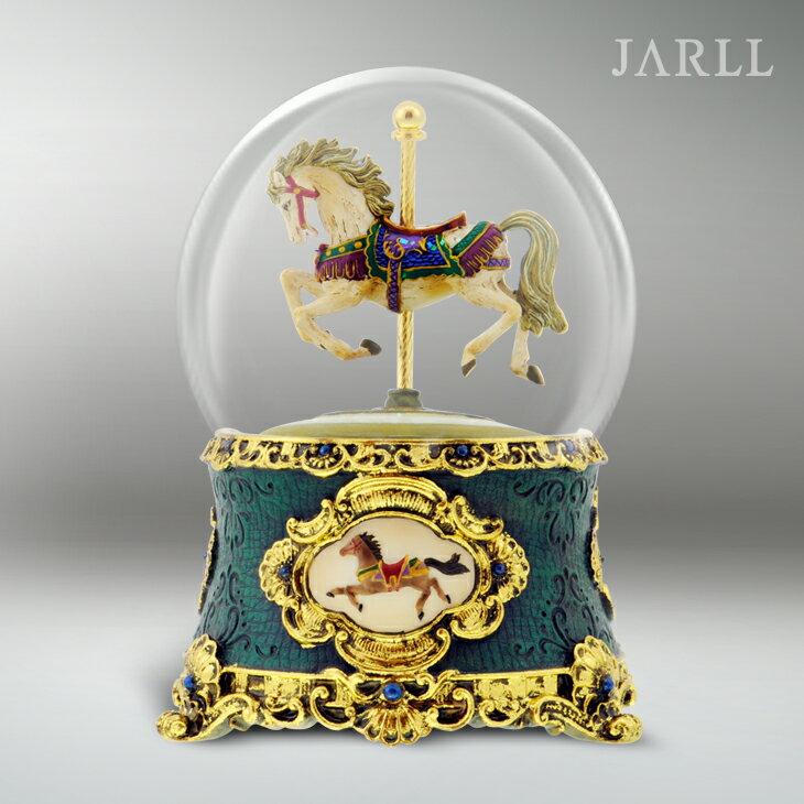 讚爾藝術 JARLL 古董遊樂馬(綠) 水晶球音樂盒 生日禮物 居家擺飾