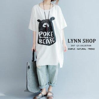 中大尺碼可愛熊印花長版圓領短袖T恤【B-17-0010】LYNNSHOP