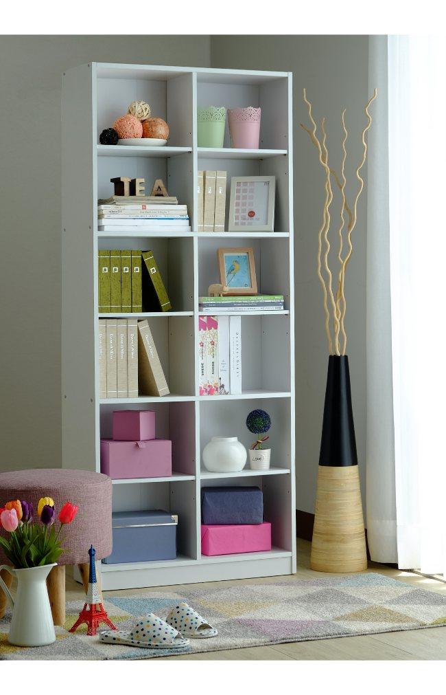 實心十二格白色書櫃 收納櫃 置物櫃~【馥葉-SM】 型號1812WH