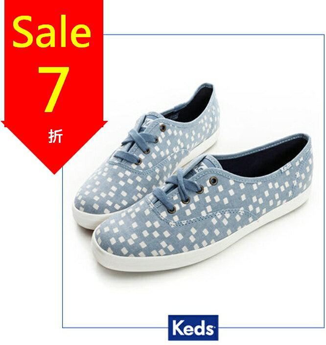 Keds 雪花片片綁帶休閒鞋-淺藍/方塊(限量) 套入式│平底鞋│綁帶 0