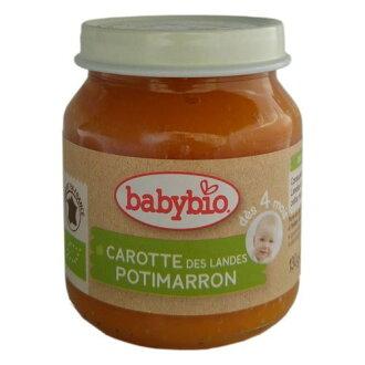 『121婦嬰用品館』法國BABYBIO 有機南瓜紅蘿蔔蔬菜泥 (130g/4M+)