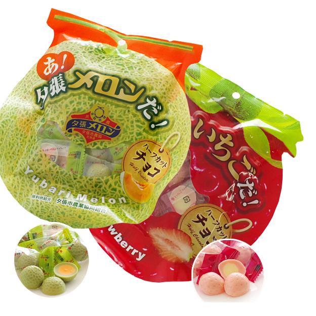有樂町進口食品 北海道扎晃夕張哈密瓜/草莓半切巧克力 65g 4984620004838