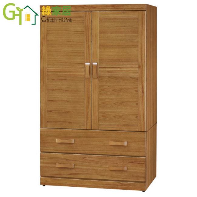 【綠家居】克絲坦 3尺柚木色開門衣櫃